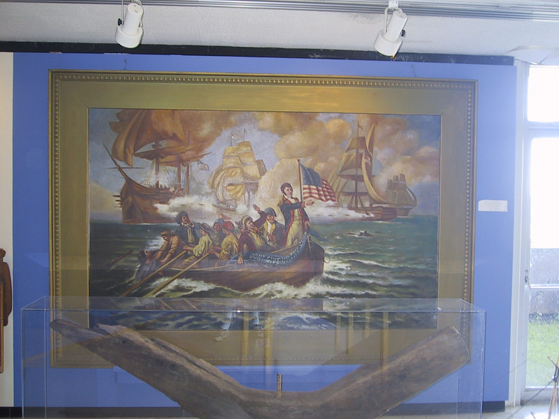 Painting of Oliver Hazard Perry at the Battle of Lake Erie, transferring his command from the <i>Lawrence</i> to the <i>Niagara</i>.