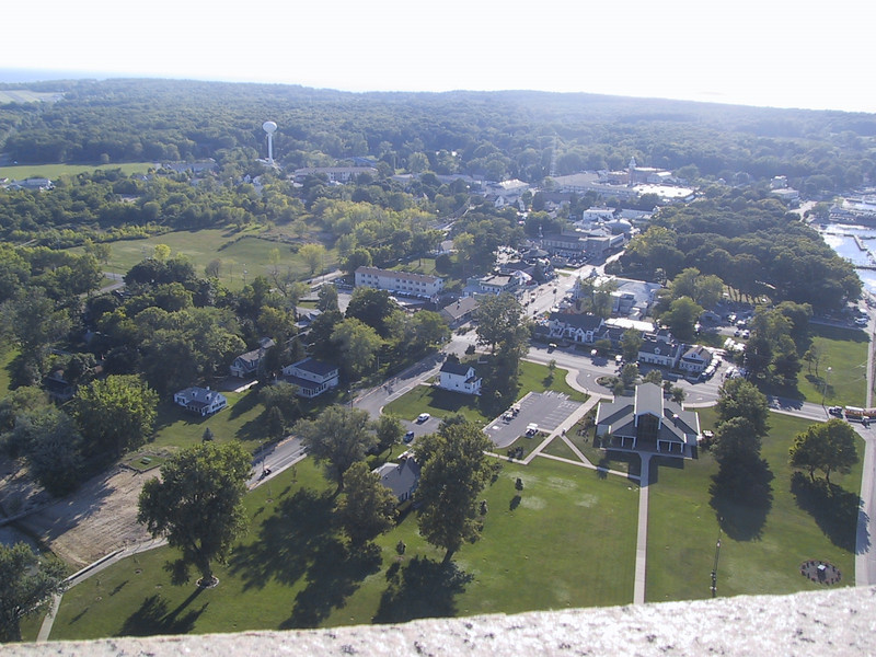 View of the village Put-In-Bay, the only incorporated area on South Bass Island, from the top of the monument.  The building on the right towards the foreground is the visitor center for the monument.
