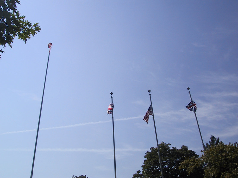 """Flags at <a href=""""http://www.pc.gc.ca/lhn-nhs/on/malden/index_E.asp"""">Fort Malden</a> in Amherstberg, Ontario.  These represent the four countries which have flown over Fort Amherstberg (the first fort on this site) and Fort Malden: from left to right, Canada, the United Kingdom, the United States (which captured the fort during the War of 1812), and the United Kingdom prior to its Union with Ireland."""