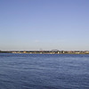 The Peace Bridge, connecting Fort Erie, Ontario, to Buffalo, New York, seen from the Canadian side.