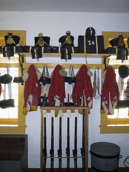 British uniforms and rifles in the barracks at Fort Malden.