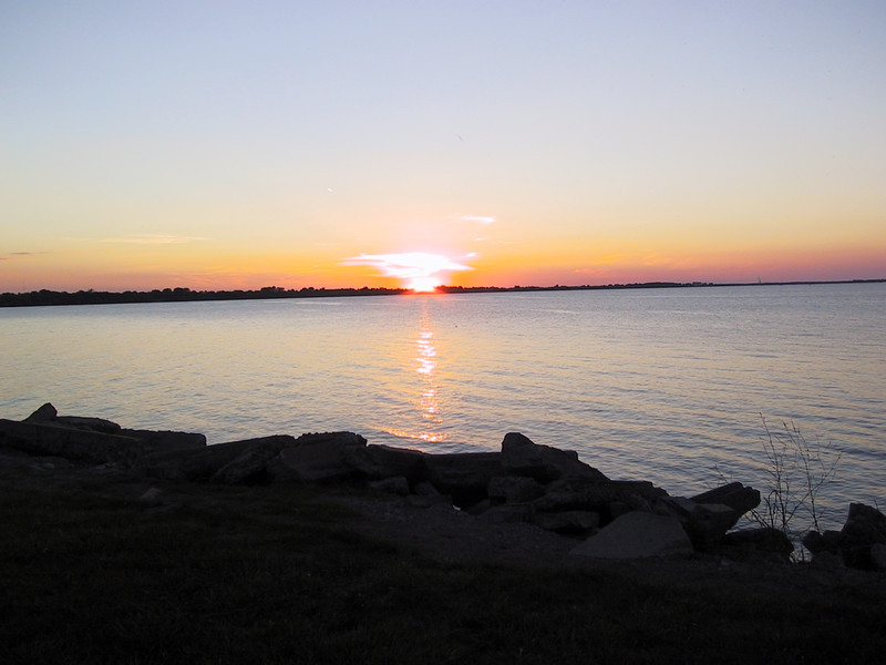 Sunset seen across Sandusky Bay, from Lions Park in Sandusky.