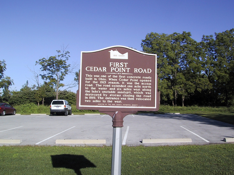 "Beginning of the first road to Cedar Point, located at the <a href=""http://www.dnr.state.oh.us/dnap/location/sheldon.html"">Sheldon Marsh State Nature Preserve</a>.  The original road was built too close to the shore and was destroyed by storms, so the current road was built further inland."