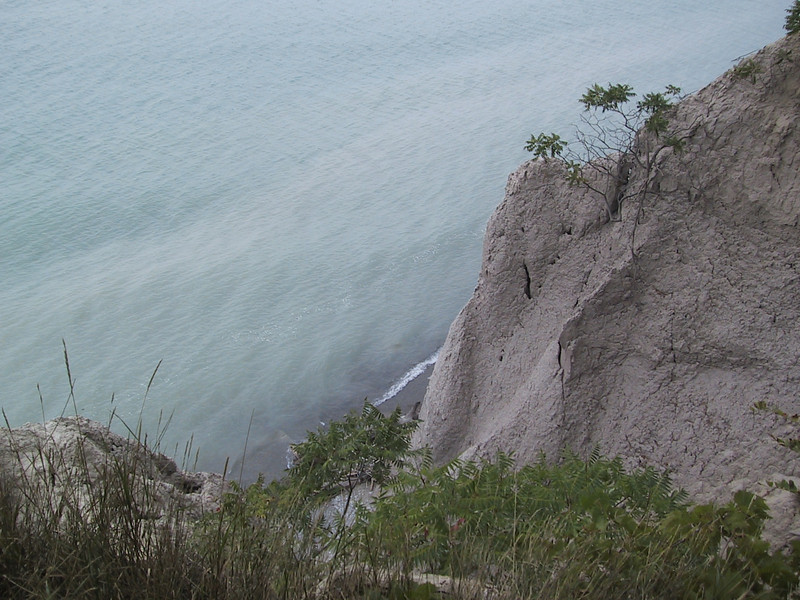 Looking more or less straight down at Lake Erie from a bluff at John E. Pearce Provincial Park.