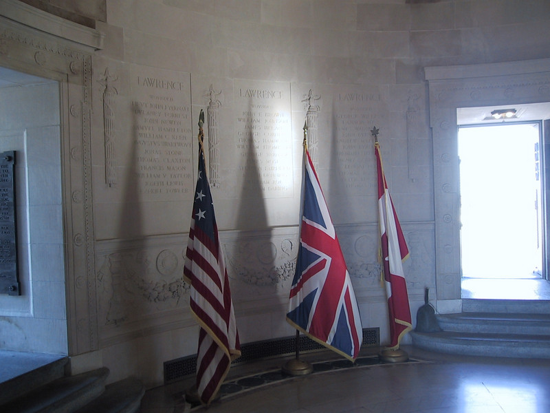 Inside the monument, at its base.  Names of those who died in the Battle of Lake Erie - both American and British - are inscribed on the wall.