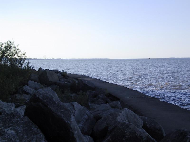 Looking out along that breakwall towards Cedar Point.