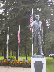 Prologue: Here in Waterford, PA, about 10 miles south of Erie, is the only known statue of George Washington in a British uniform.  Near this spot in 1753, Major Washington delivered a letter from the Governor of Virginia to the commander of a French fort, asking them to leave.