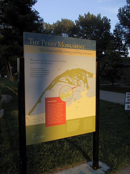 Sign describing and showing the location of the Perry Monument in Presque Isle State Park.