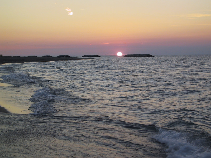 Sunset at Presque Isle State Park.