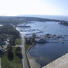 View of the bay from the top of the monument.  A Jet Express ferry can be seen towards the right coming into the dock.