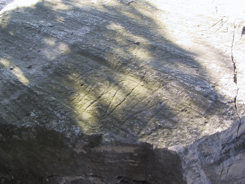 Close-up of Inscription Rock, where some of the drawings can barely be made out.