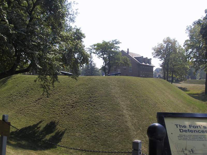 Earthworks surrounding Fort Malden.  It occupies a key spot on the Detroit River near where it empties into Lake Erie; because of the shallowness of the river in many spots, ships passing by had to travel near the eastern bank of the river, where the fort is.
