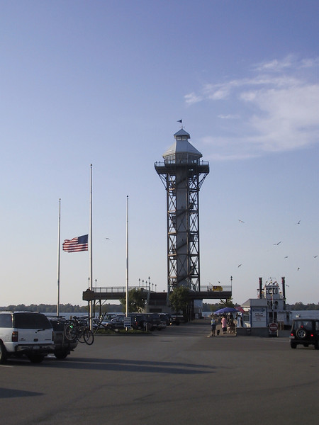 Bicentennial Tower in Erie, PA.  The U.S. flag is still at half-staff due to the recent death of Chief Justice William Rehnquist.