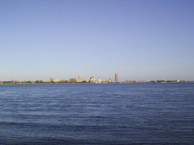 Buffalo skyline seen across the Niagara River from Fort Erie.