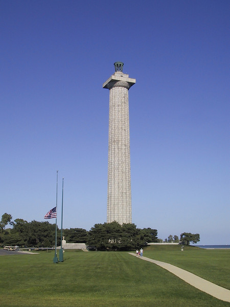 At 352 feet, Perry's Victory and International Peace Monument is the 3rd-tallest monument in the U.S., behind the Washington Monument and the Gateway Arch.  On this date, the U.S. flag is at half-staff due to the recent death of Chief Justice William Rehnquist.  Normally the Canadian flag would be displayed on the empty mast, but it would be inappropriate to fly the Canadian flag at half-staff for the death of a U.S. Chief Justice, and also inappropriate in the U.S. to fly the Canadian flag higher than the U.S. flag, so the only solution is not to fly the Canadian flag at all.