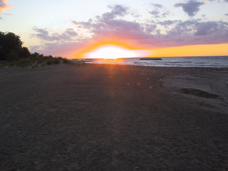 """Sunset seen from Presque Isle State Park.  After leaving here I went to Geneva-on-the-Lake, OH, where I had a nice dinner outside on the lakeshore at the <a href=""""http://www.oldfirehousewinery.com/"""">Old Firehouse Winery</a>."""