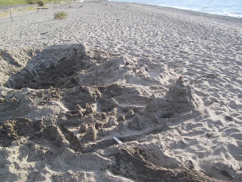 Closer view of the sand castle at Headlands Beach State Park.