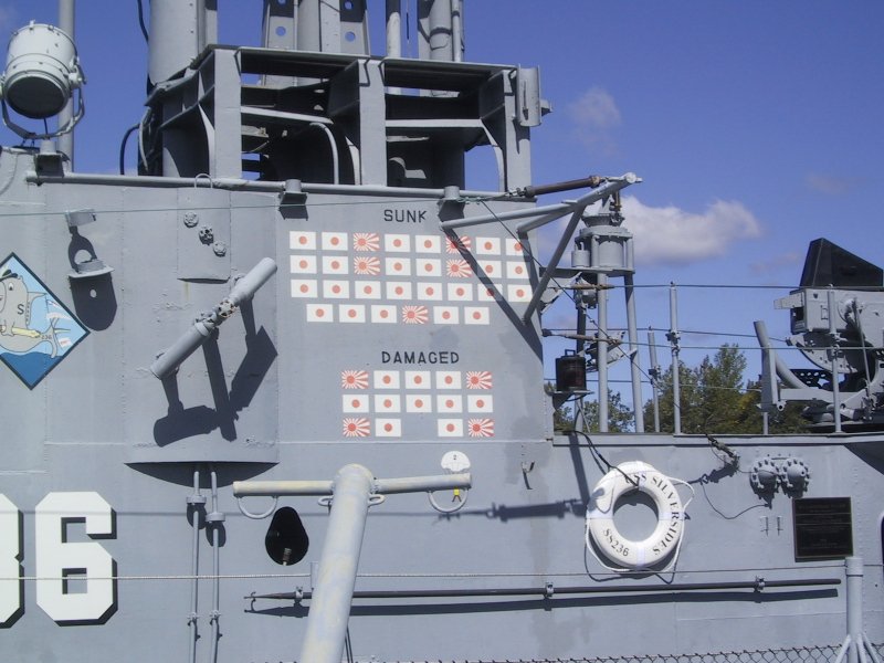 Emblems indicating Japanese ships sunk and damaged by the Silversides during World War II.