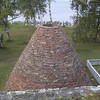 Reconstruction of a kiln which was used to make charcoal.