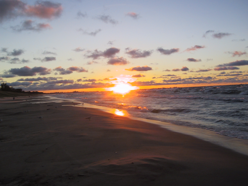 Sunset at the West Beach, Indiana Dunes National Lakeshore.