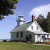 The Old Mission Point Lighthouse at the end of the Old Mission Peninsula.
