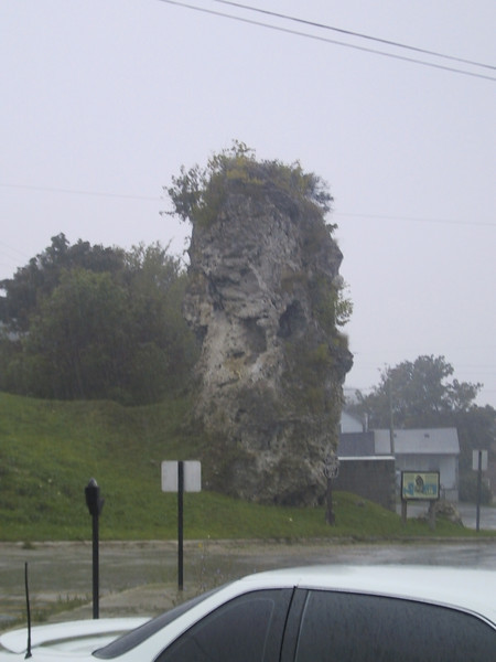 This column was used as a lookout by Native Americans.  It had started raining at this point.