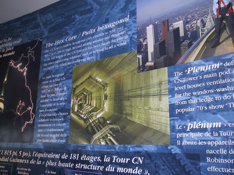 Sign describing the hexagonal core of the CN Tower