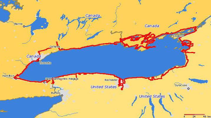 """I drove around Lake Ontario September 3-16, 2006. <p> <b>Usability:</b> The """"style"""" options in the upper right give you a variety of ways of viewing these photos.  I recommend the """"journal"""" option which allows you to see several photos and my comments on them on one page.  From a journal page, you can click on an individual photo to view a larger version of the photo, and also leave comments on it. <p> <b>Copyright:</b> All <u>photographs</u> in this gallery are Copyright © 2006 Charles E. Carroll, with all rights reserved unless otherwise indicated on individual photos.  All <u>maps</u> (such as this one) are Copyright © 2008 <a href=""""http://www.planiglobe.com/"""">planiglobe</a> and are used in accordance with their license."""