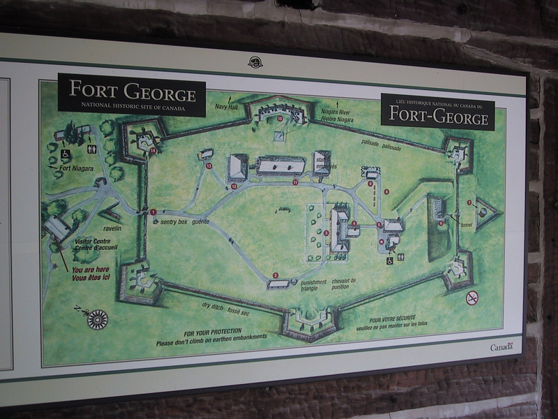 "Map of <a href=""http://www.pc.gc.ca/eng/lhn-nhs/on/fortgeorge/index.aspx"">Fort George</a> near Niagara-on-the-Lake, ON. This fort played a role in the War of 1812: it was captured by US forces in May 1813 and used as a base for further operations in Canada until it was recaptured by the British in December 1813."