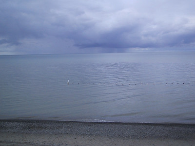 First view of Lake Ontario, from a beach at Wilson-Tuscarora State Park