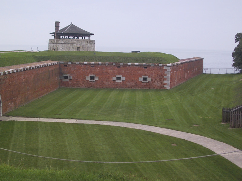 Wall, earthworks, and entrance tower at Fort Niagara
