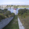 "View down to the <a href=""http://en.wikipedia.org/wiki/Martello_tower"">Martello tower</a> providing defense against attacks from the river."