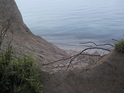 Looking down the bluff at Lake Ontario