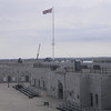 British flag flying over the parade ground