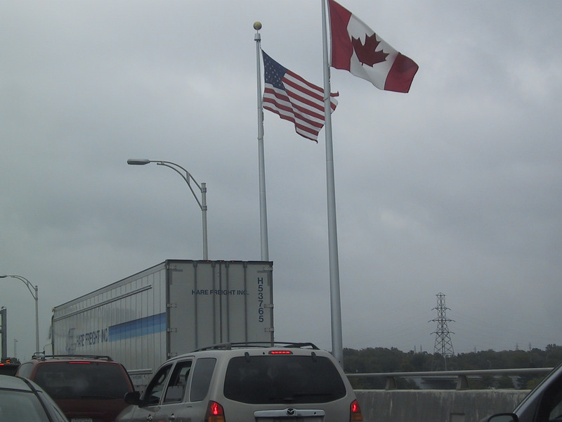 Returning to the United States: the US-Canada border at the Lewiston-Queenston Bridge.