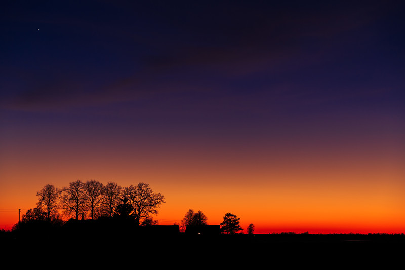 Sunset in Lithuanian countryside
