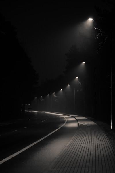 Streetlights on empty street
