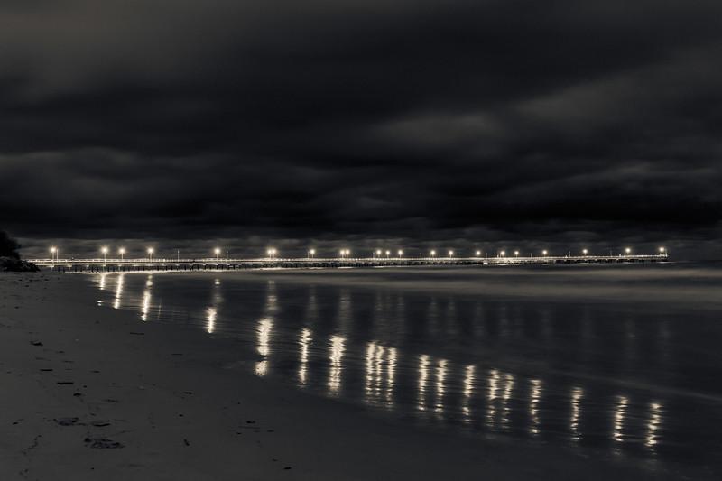 Sea bridge lights far away