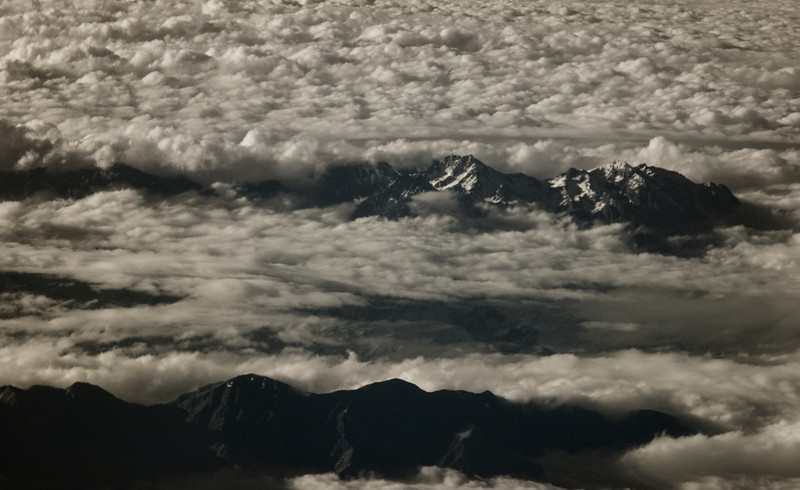 The Kaikoura Ranges poking through the clouds
