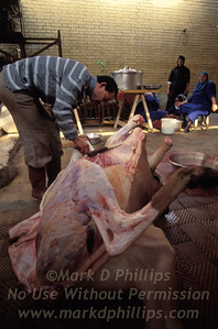 Butchering a cow in the City of the Dead in Cairo, Egypt.