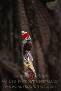 A Diviner through a wooden fence in South Africa at Zululand