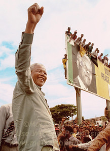 Nelson Mandela in Durban, South Africa during his campaign for the presidency against Willem de Klerk in 1994.