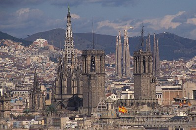 Barcelona, Spain with Sagrada Familia Cathedral in the distance.