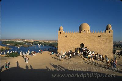 Aga Khan Mausoleum in Aswan, Egypt over the Nile River.