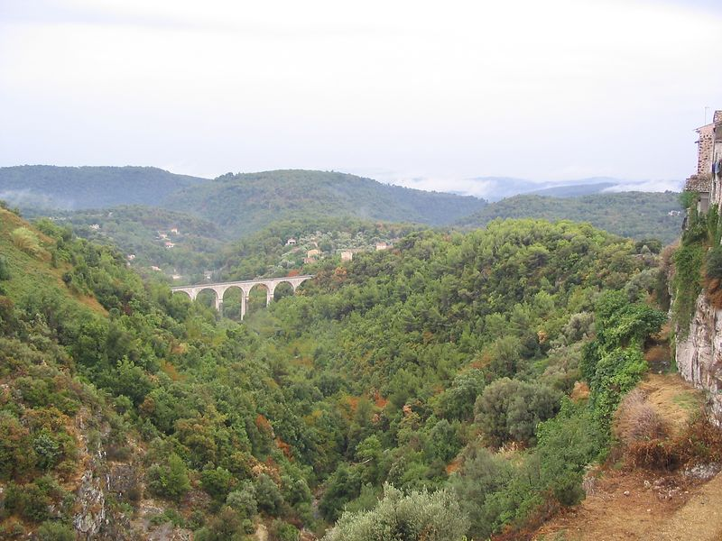 View of old rail bridge from Tourettes sur Loup