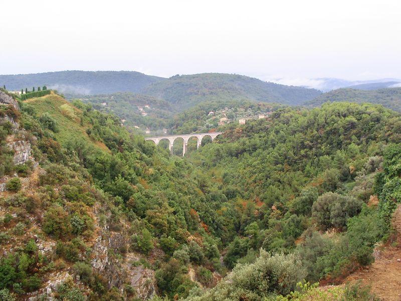 View of old rail bridge from Tourettes sur Loup