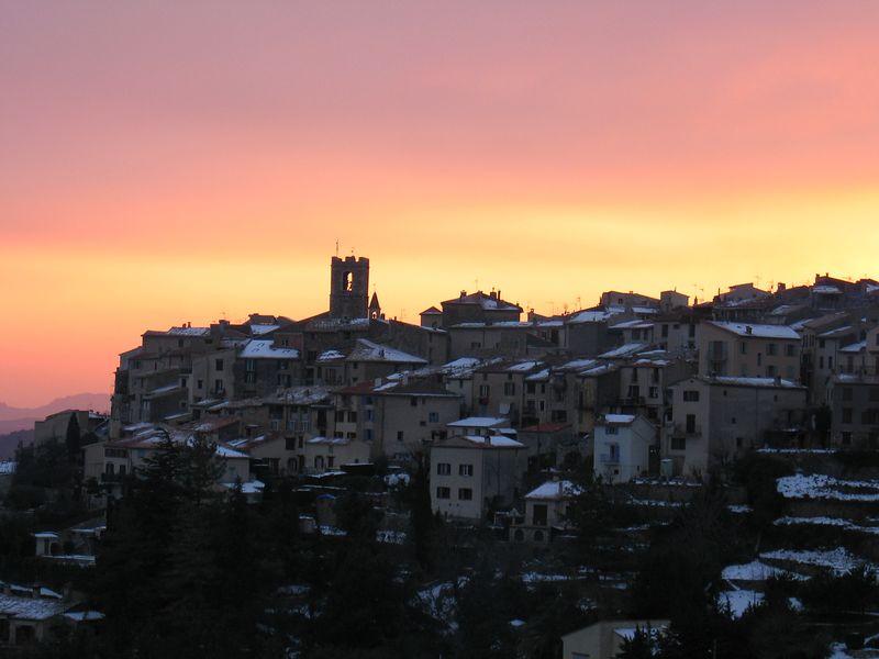 St Jeannet sunset over village.