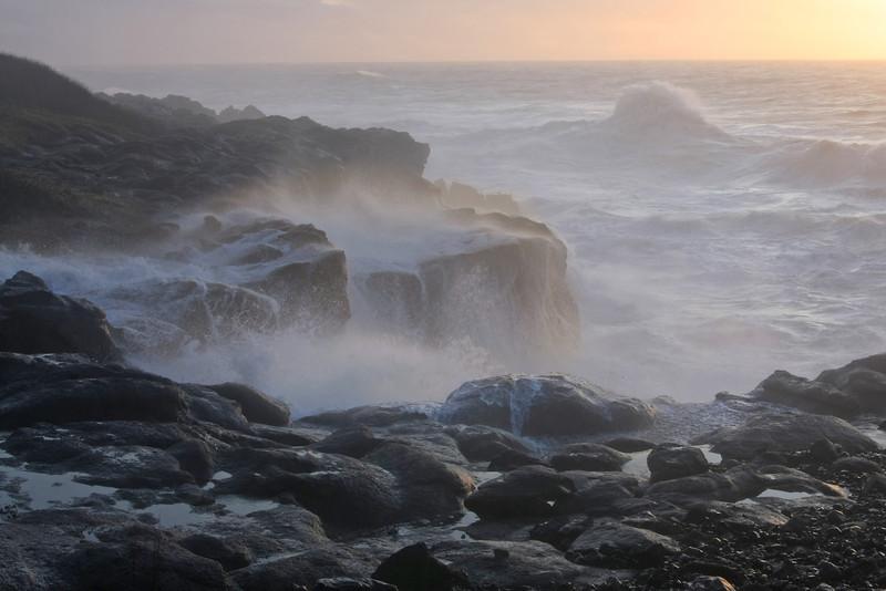 Lost in the Mist - A Breaking sea, near Boiler Bay, Oregon