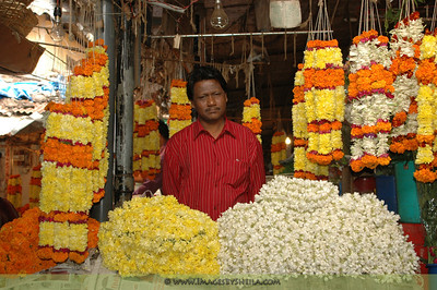 Flower vendor, India market