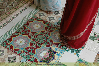 Colorful tiles of the temples in India